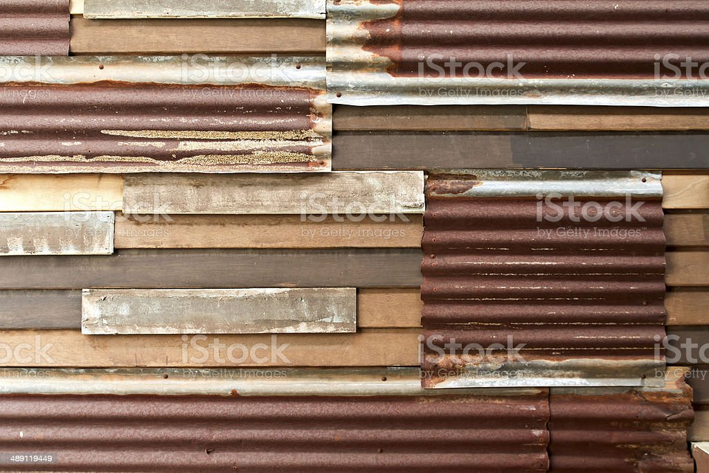 Rusty corrugated metal wall royalty-free stock photo
