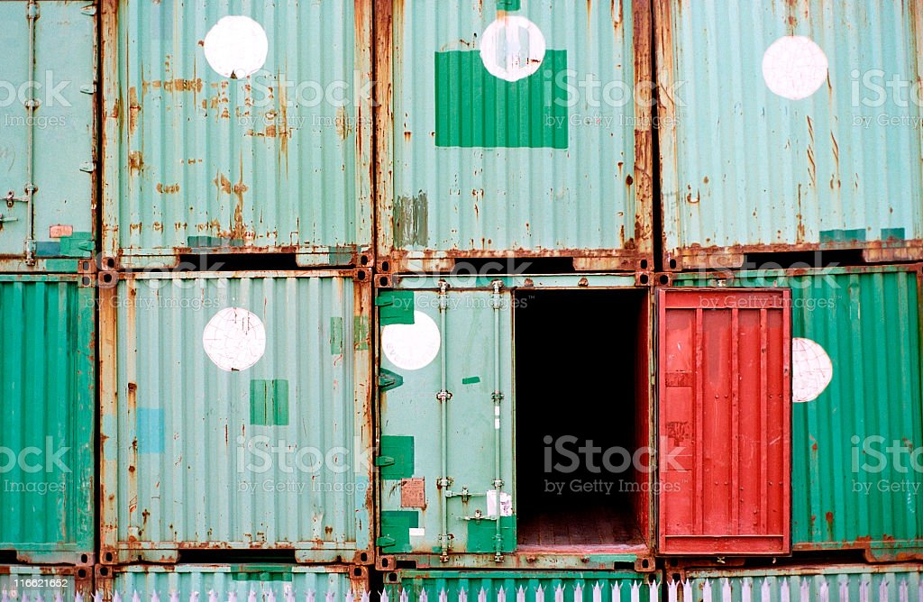 rusty cubes and one open royalty-free stock photo
