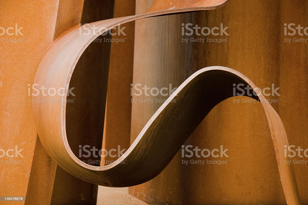 Rusty curved steel stock photo