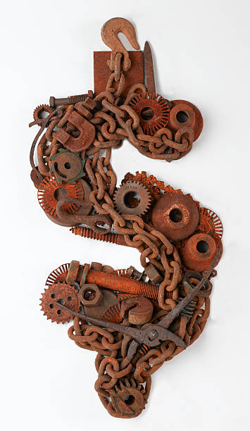 Rusty Dollar Sign A dollar sign shaped with rusted bolts and industrial metal parts. debt ceiling stock pictures, royalty-free photos & images