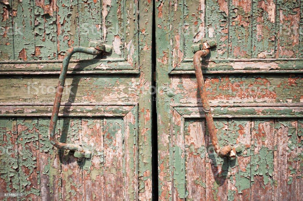 Rusty Door Handles On An Old Wooden Barn Door Stock Photo More