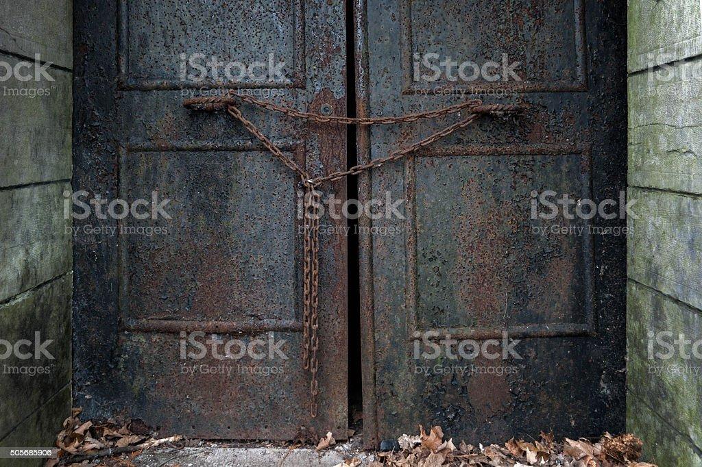 Rusty Door with Chain stock photo