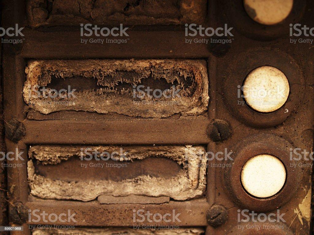 rusty doorbell panel stock photo