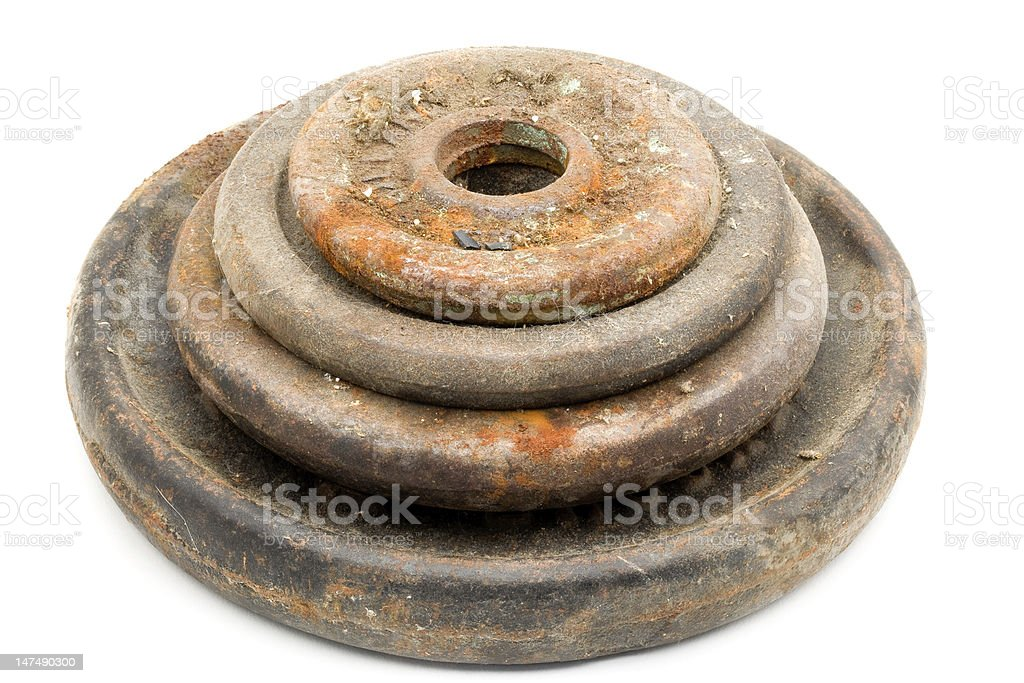Rusty Dusty Weights stock photo