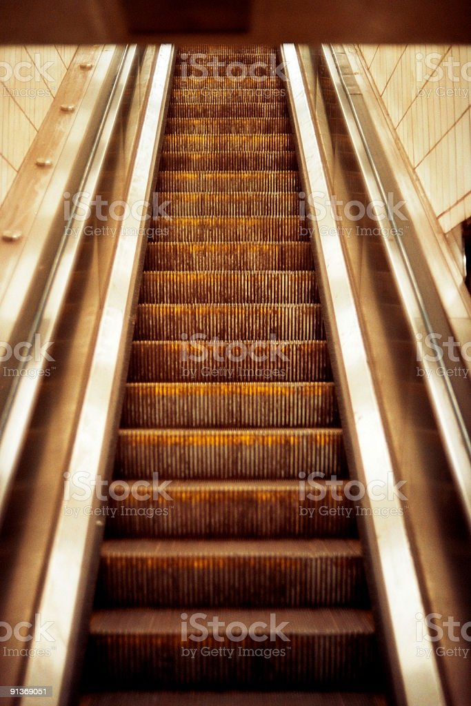 Rusty Escalator - Poor Conditions in New York Subway Station royalty-free stock photo