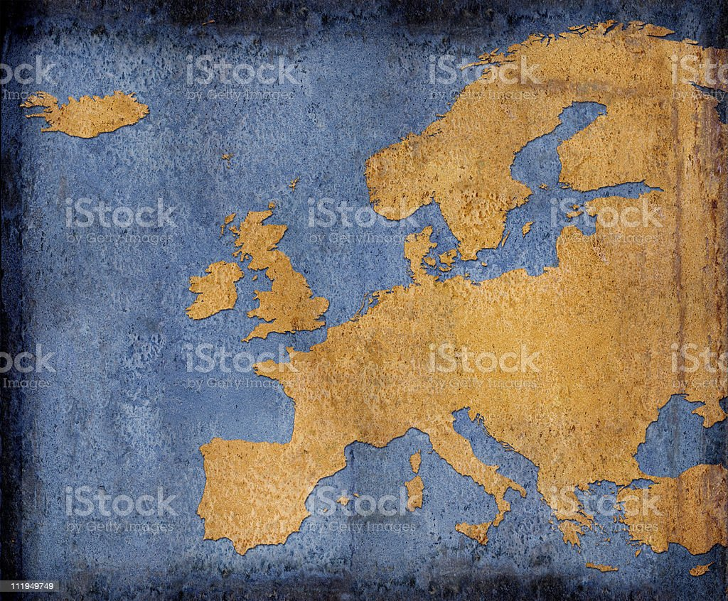 Rusty Europe on blue toned background royalty-free stock photo