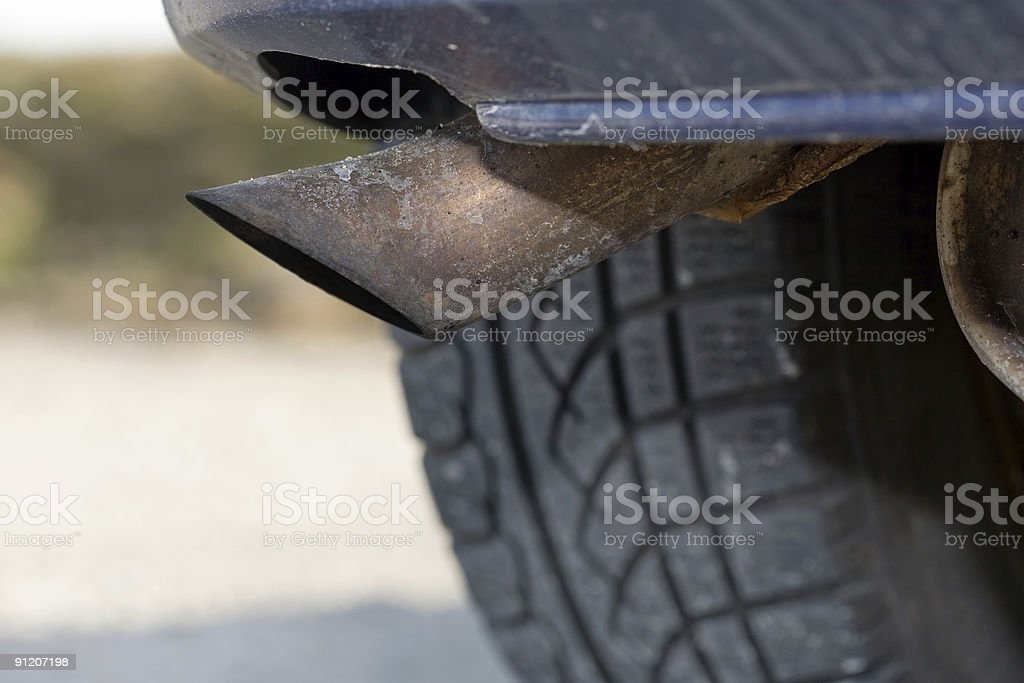 Rusty exhaust pipe, Close-up royalty-free stock photo