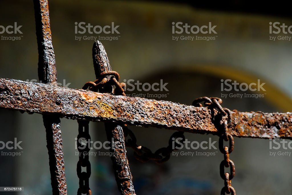 Rusty Fence and Chain stock photo