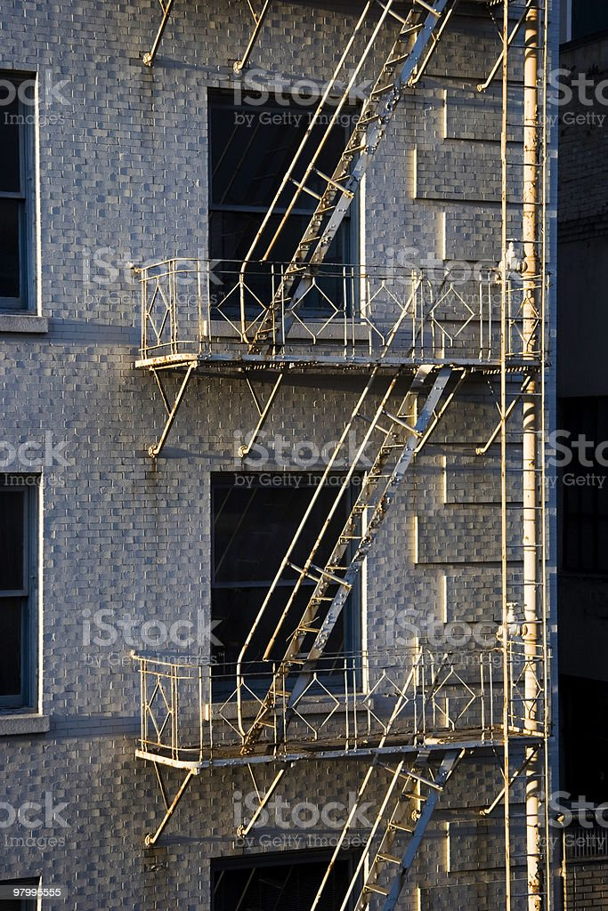 Rusty Fire Escape on Old Building royalty-free stock photo