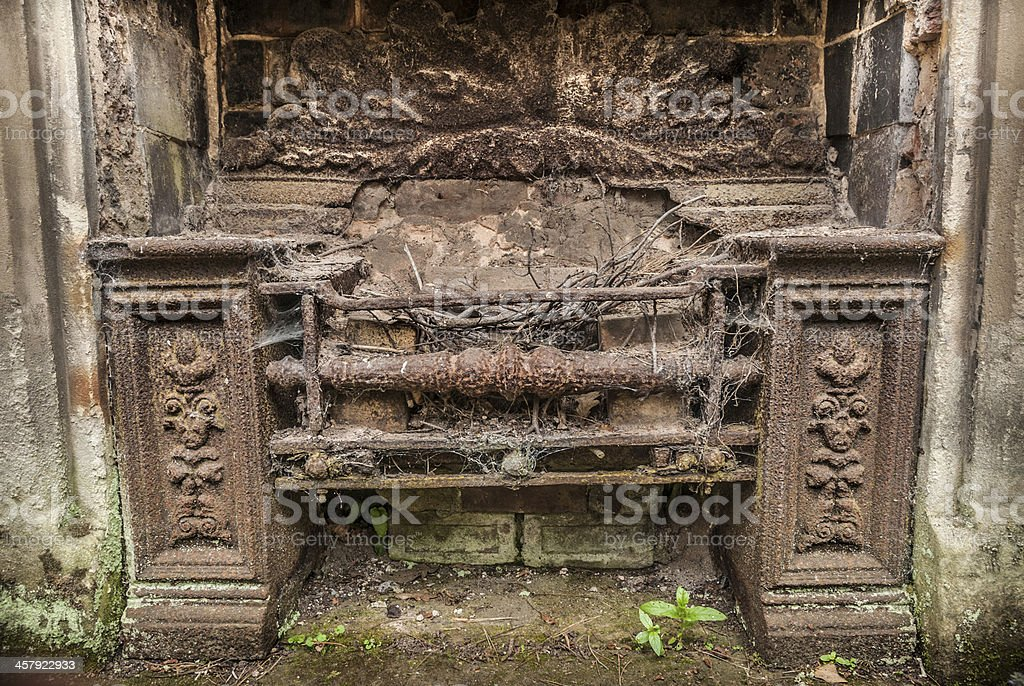 Rusty Fireplace stock photo