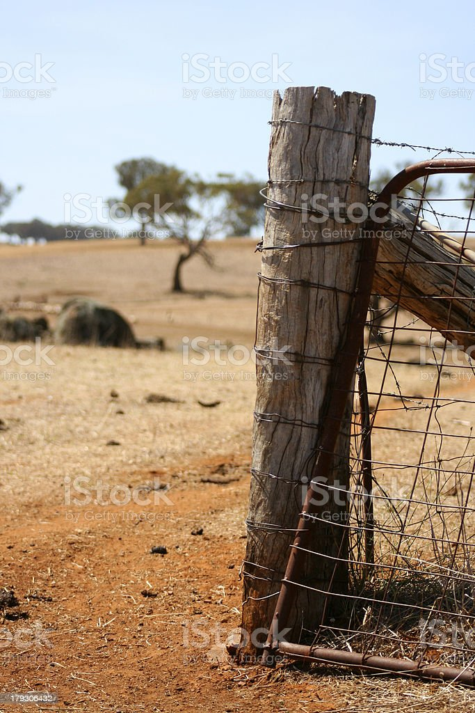 Rusty Gate & Fencepost on an Australian Farm royalty-free stock photo