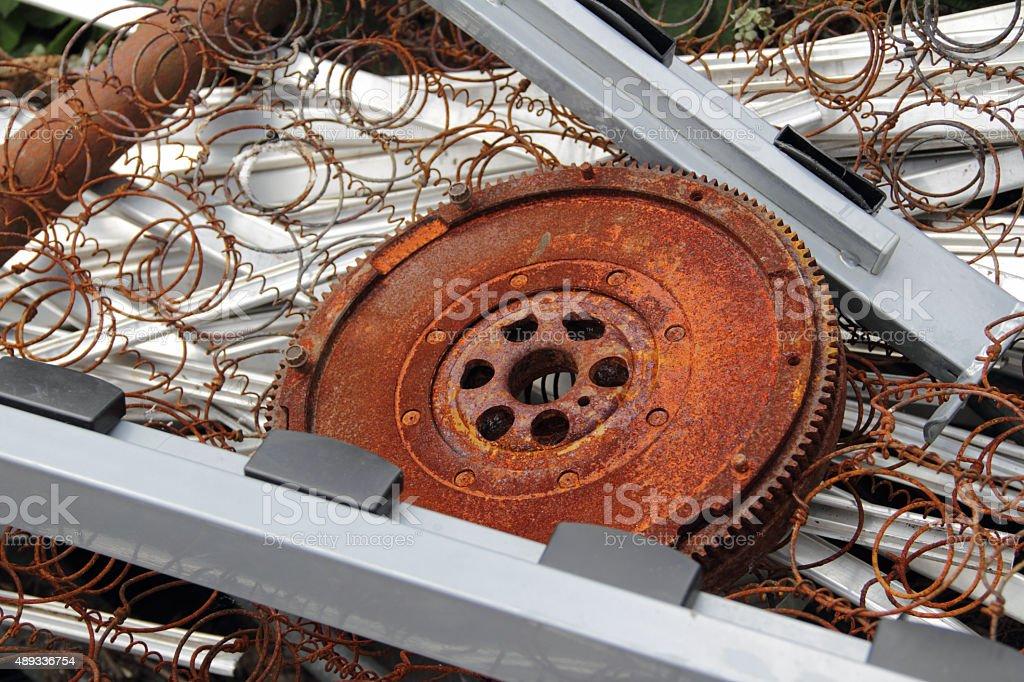 rusty gear wheel stock photo