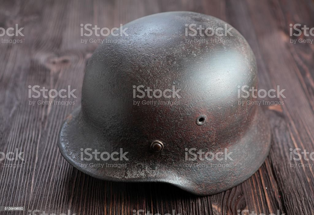 Rusty german army helmet from second world war. stock photo