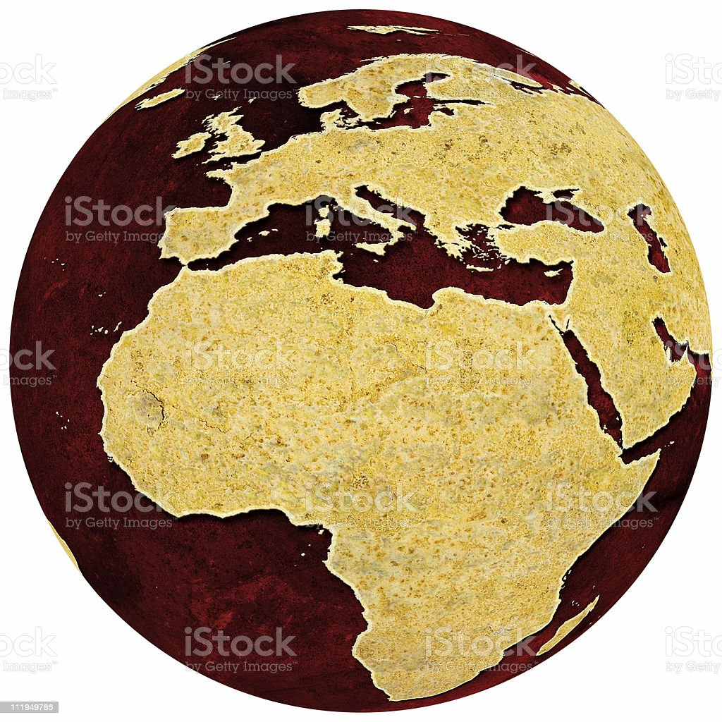 Rusty globe on red grungey background Africa and Europe royalty-free stock photo