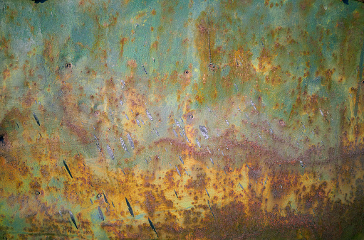 Rusty grunge green metal wall texture