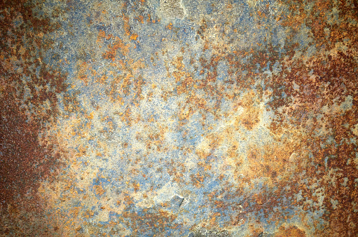 Rusty grunge old empty sheet metal wall texture background, full frame