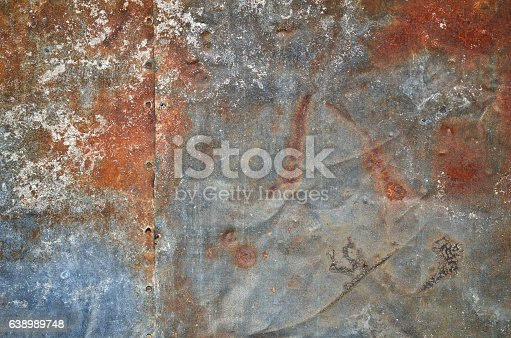 94372741 istock photo Rusty grunge old empty sheet metal wall texture background 638989748