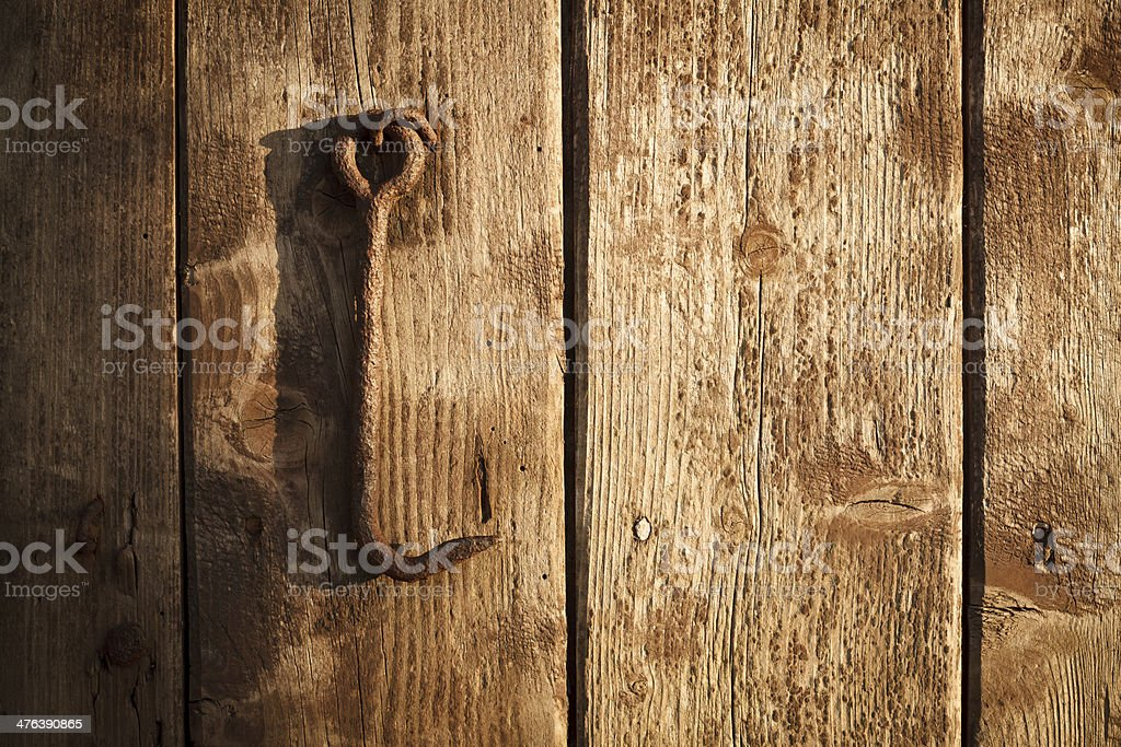 Rusty Hook and Wood royalty-free stock photo