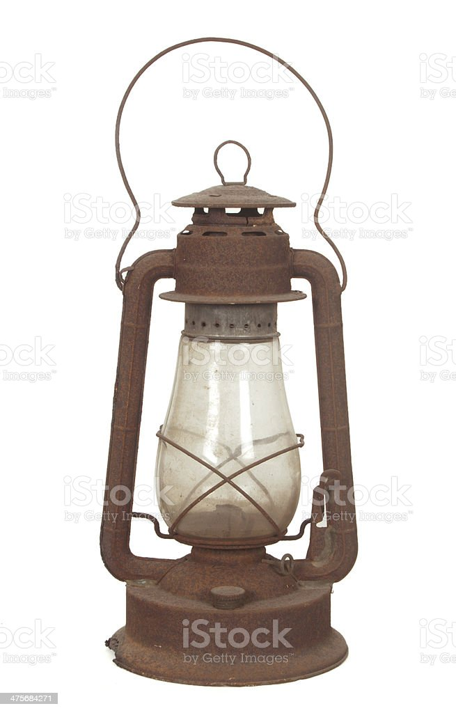 Rusty Hurricane Lantern stock photo