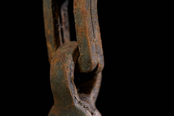 Rusty Industrial Revolution chain. stock photo