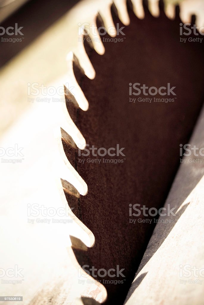 Rusty Industrial Saw blade table closeup royalty-free stock photo