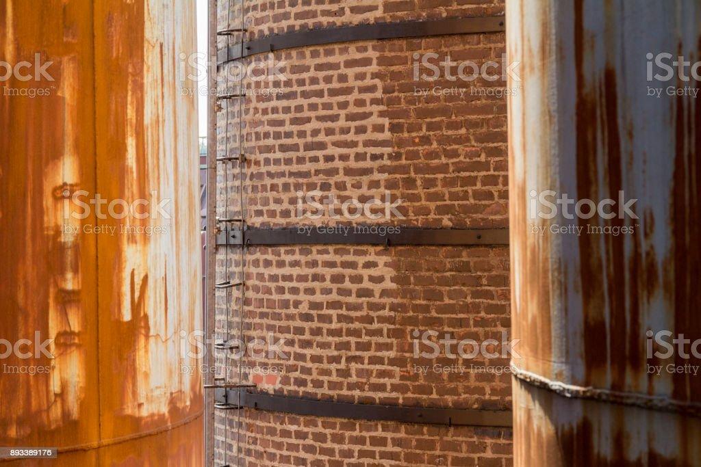 rusty industrial scenery stock photo