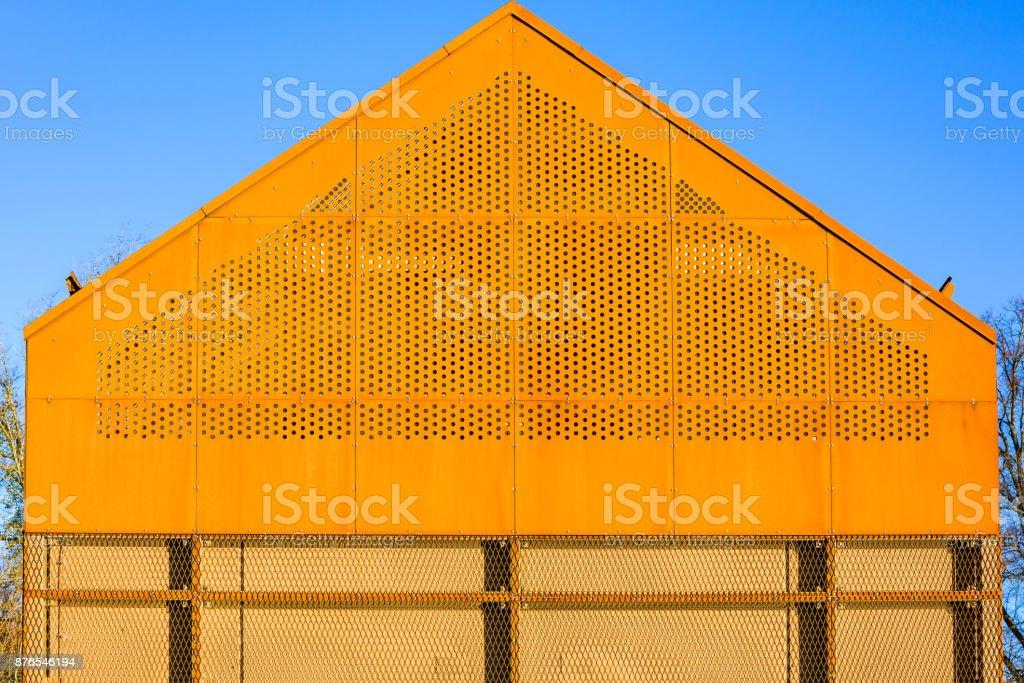 Rusty iron gable stock photo