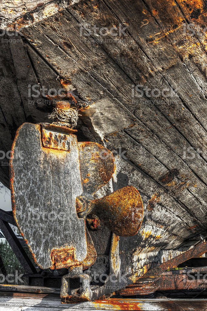 Rusty lead screw of a ship royalty-free stock photo