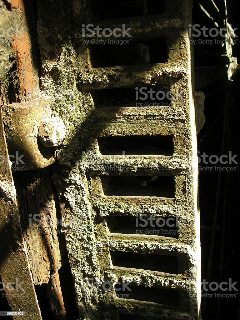 rusty machine, horror, terror, devoured by nature, ancient stock photo