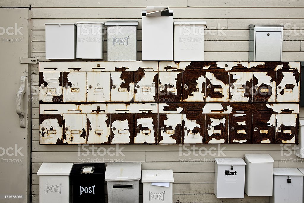 Rusty mail boxes. royalty-free stock photo