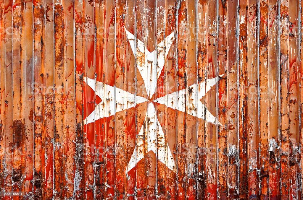 Rusty Maltese Cross (Amalfi Cross) stock photo