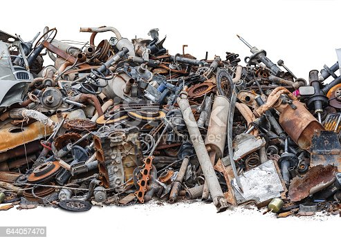 istock Rusty metal car parts isolated on the white background 644057470
