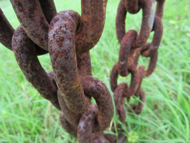 Rusty metal chain stock photo