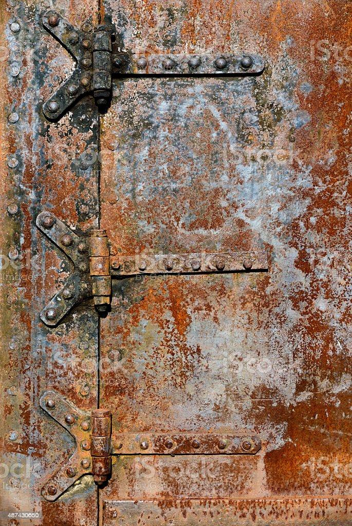 Rusty metal door details royalty-free stock photo