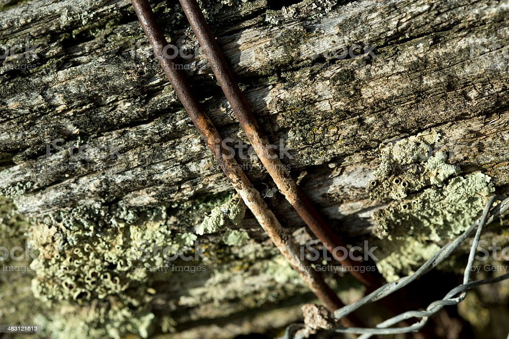 Rusty metal on wood royalty-free stock photo