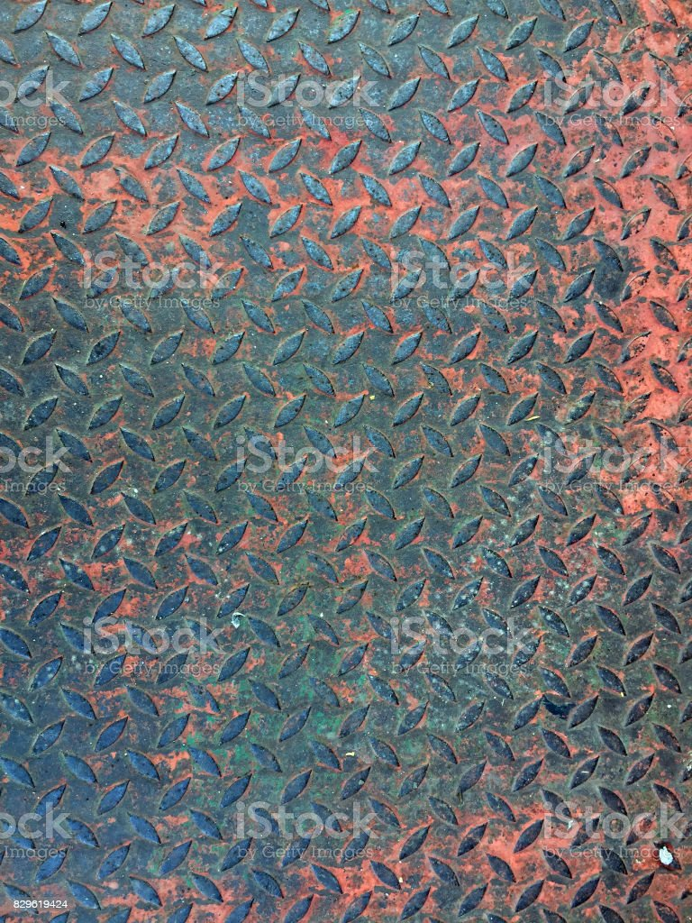Rusty metal plate floor texture background. stock photo
