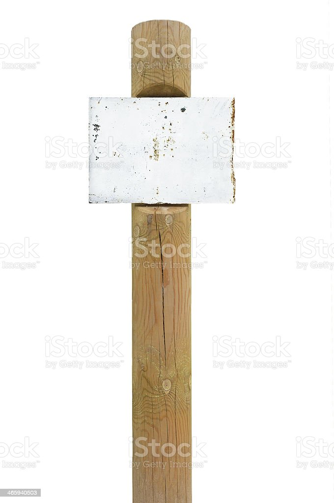 Rusty metal sign board signage, wooden signpost pole post vintage stock photo