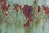 Rusty metal surface with cracked green paint, abstract rusty metal texture, rusty metal background for design with copy space, corrosion