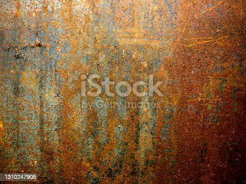 Rusty metal surface with seamless pattern. Stained iron texture