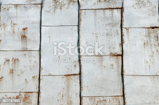 Background of an old and rusty metallic roof.