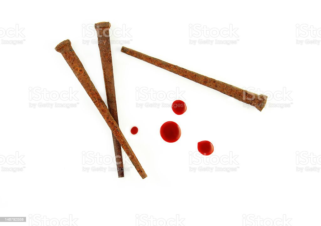Rusty Nails and Blood Drops stock photo