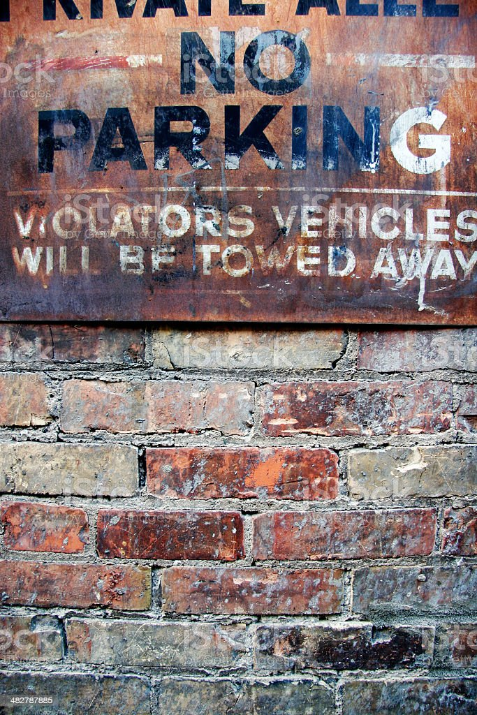 rusty no parking sign royalty-free stock photo