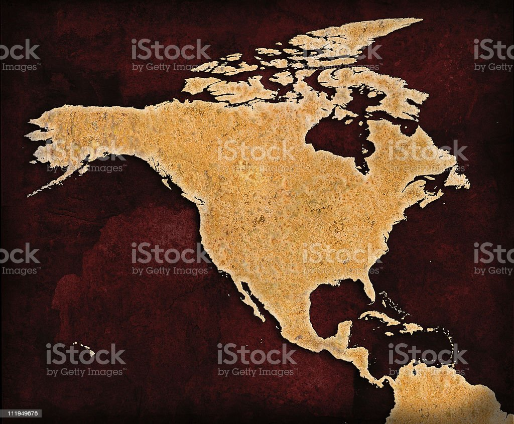 Rusty North America on grungey red background royalty-free stock photo