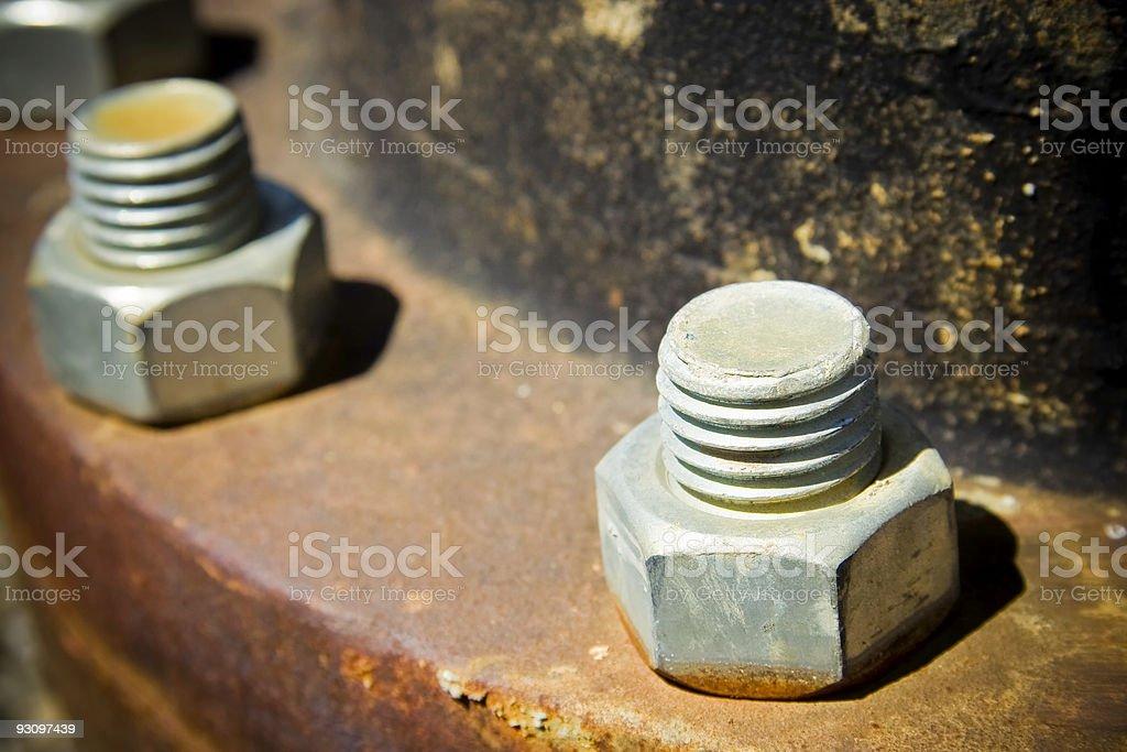 Rusty Nuts and Bolts Macro royalty-free stock photo