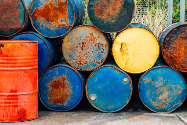 Rusty oil barrels drums Rusty oil barrels drums new territories stock pictures, royalty-free photos & images