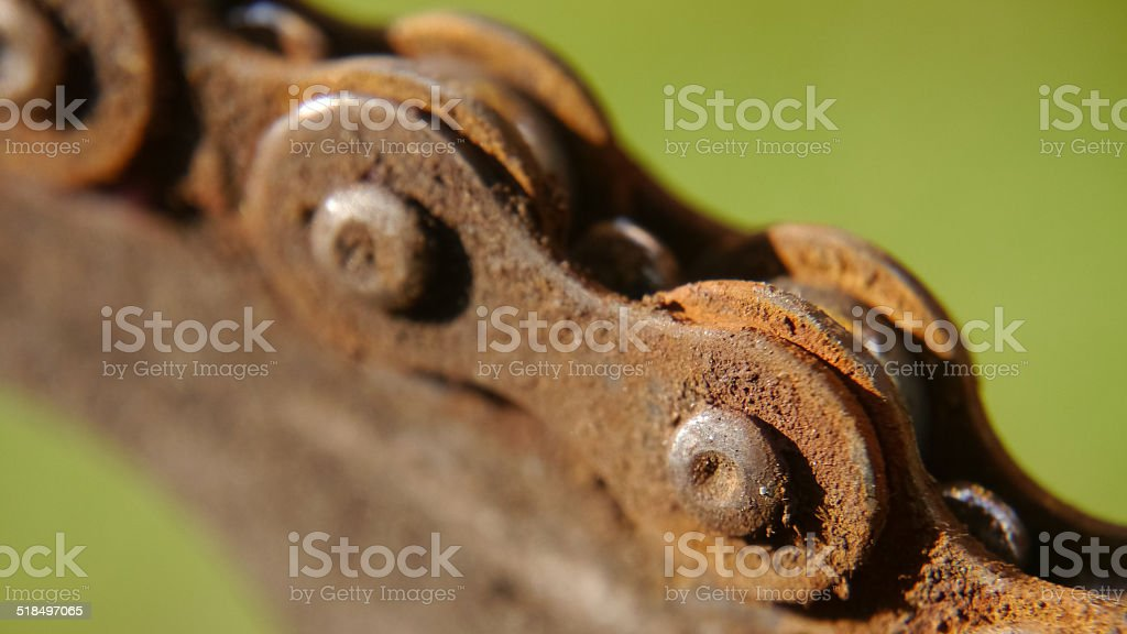 Rusty old bicycle chain stock photo