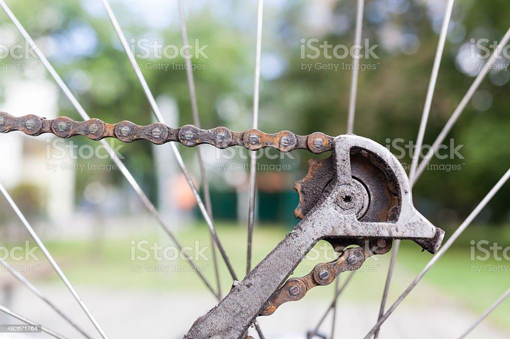 Rusty old bike chain stock photo