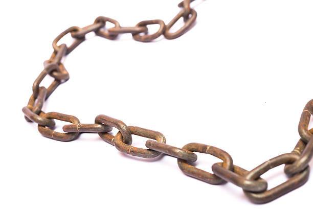 rusty old chains - chain object stock photos and pictures