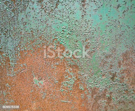 94372741 istock photo Rusty old grunge green empty sheet metal wall texture background 609928338