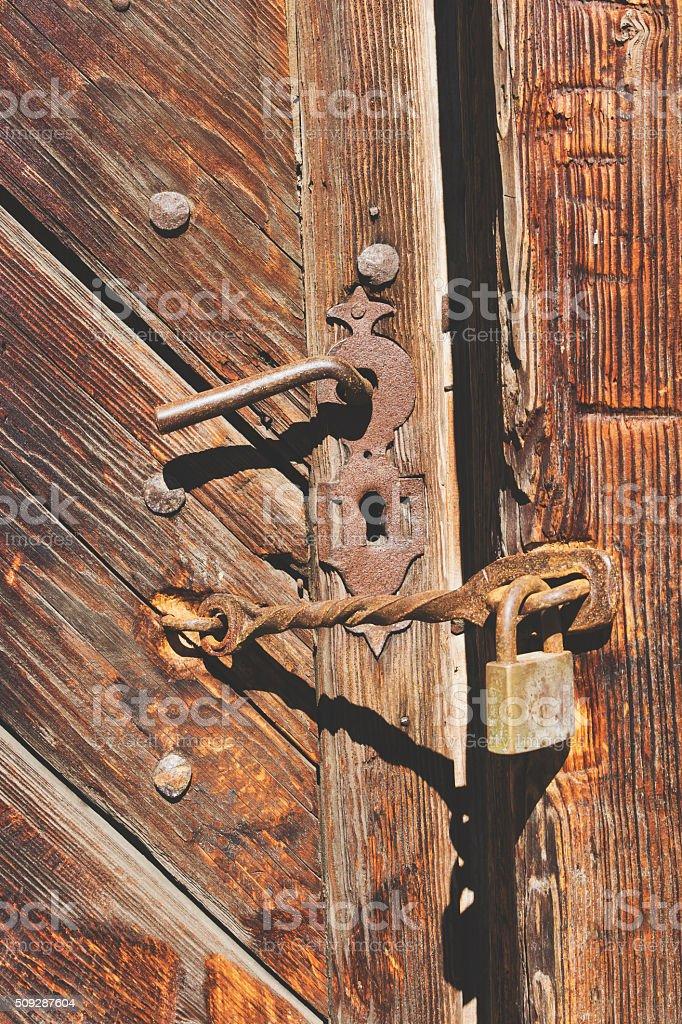 Rusty old padlock stock photo